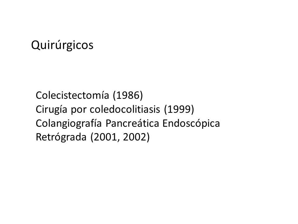 Quirúrgicos Colecistectomía (1986) Cirugía por coledocolitiasis (1999)