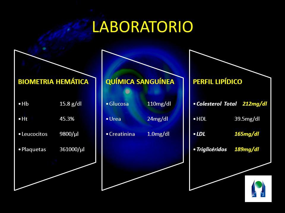 LABORATORIO BIOMETRIA HEMÁTICA Hb 15.8 g/dl Ht 45.3%