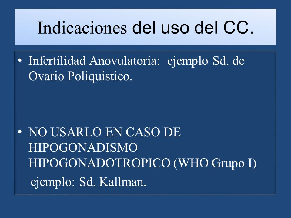 Indicaciones del uso del CC.