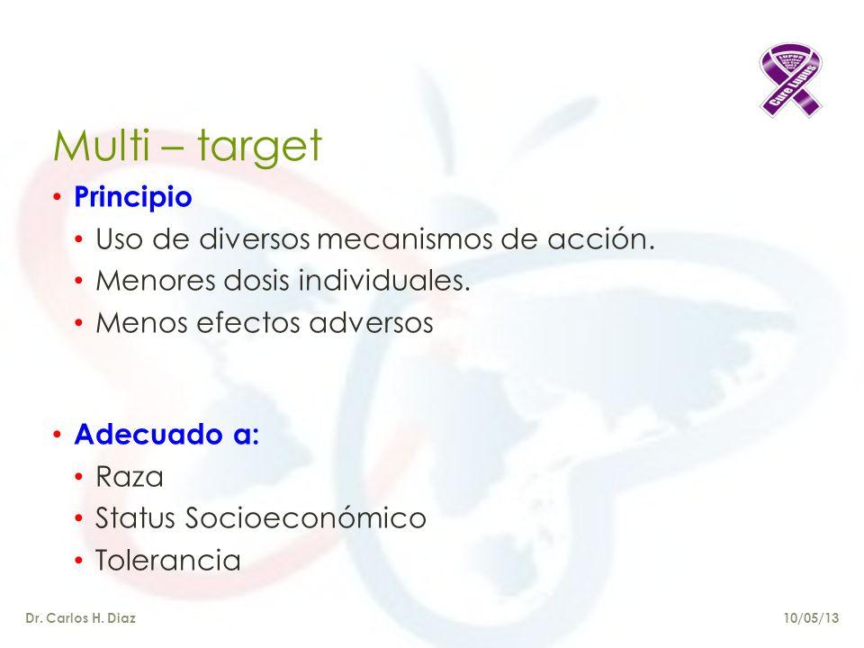 Multi – target Principio Uso de diversos mecanismos de acción.