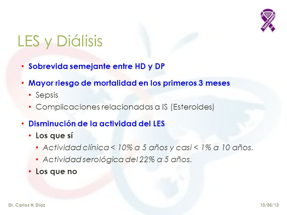 LES y Diálisis Sobrevida semejante entre HD y DP
