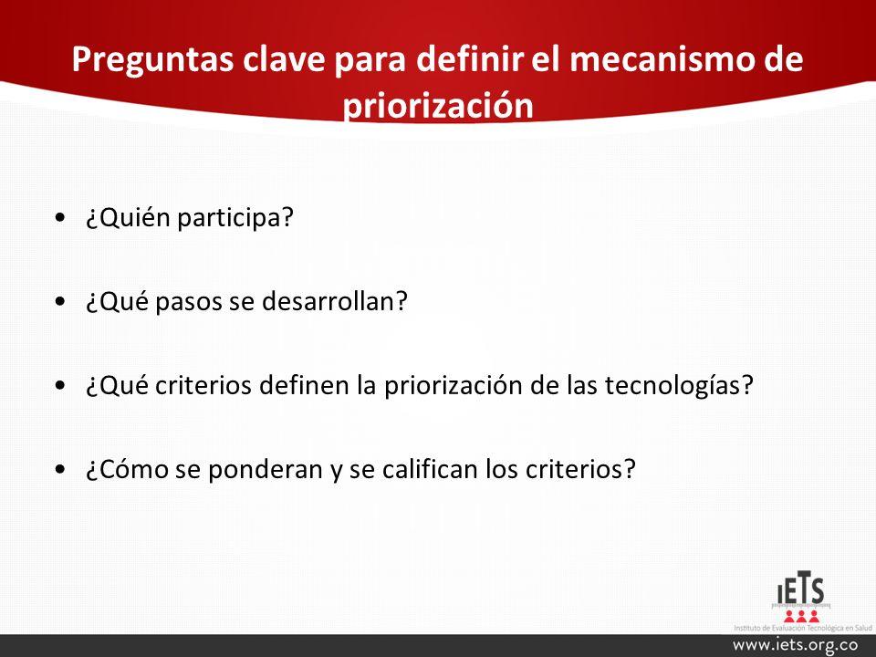 Preguntas clave para definir el mecanismo de priorización