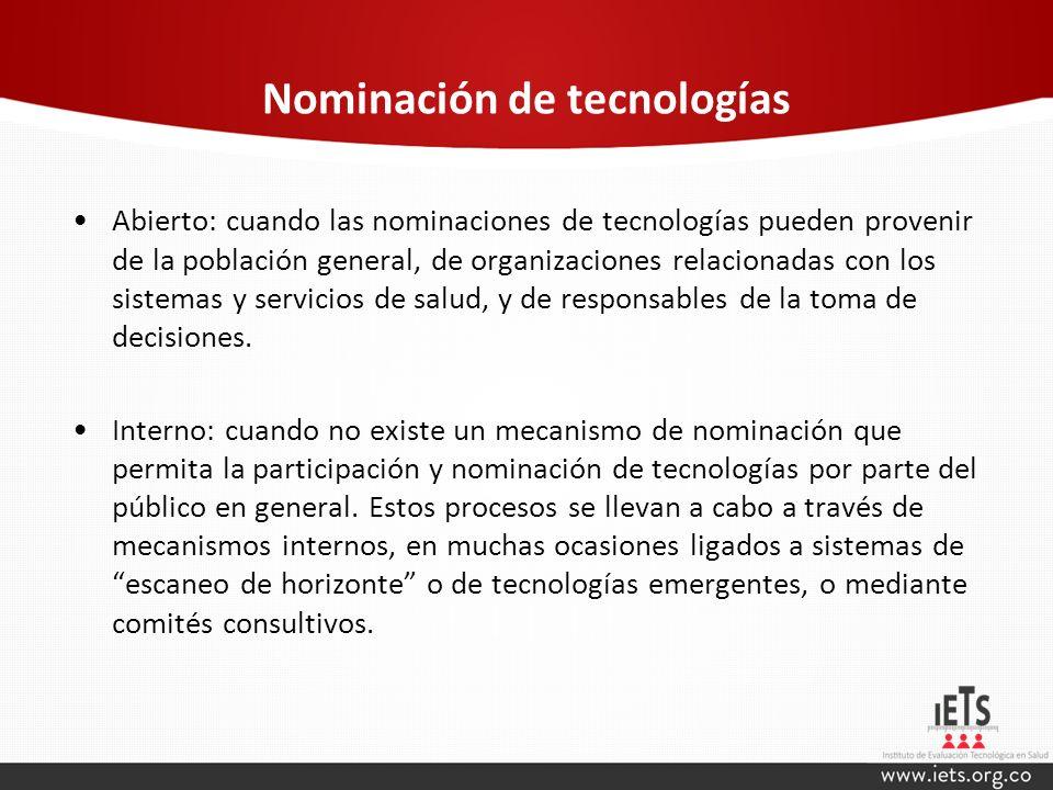 Nominación de tecnologías