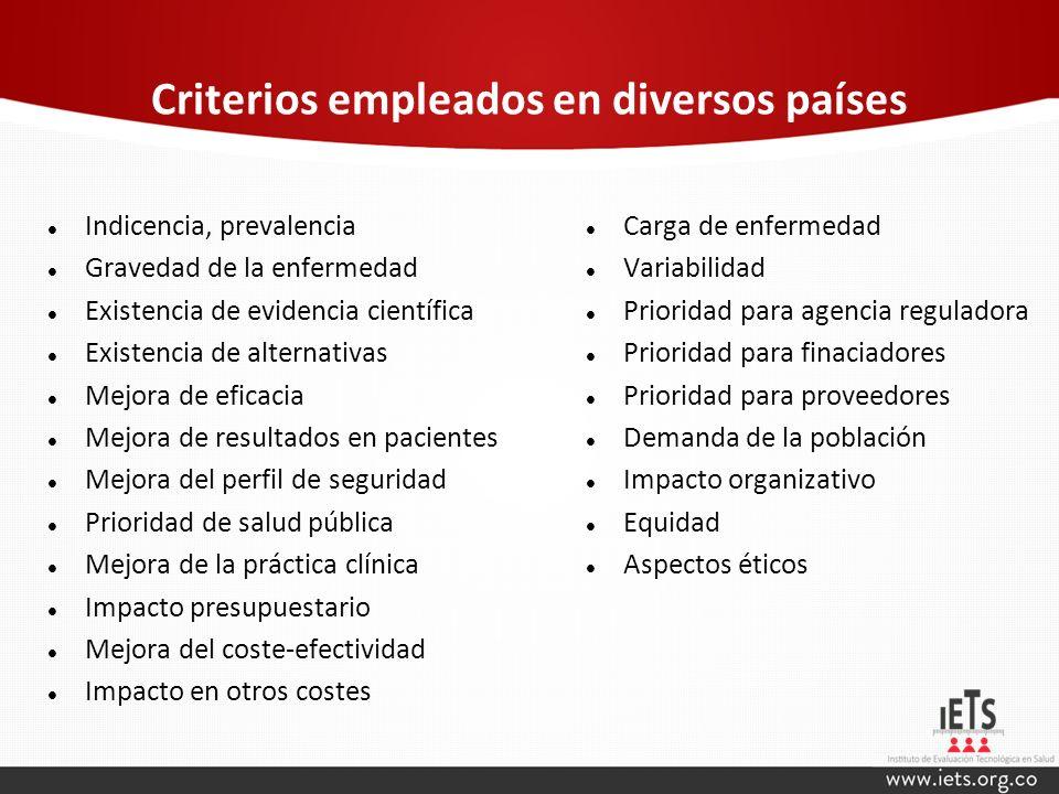 Criterios empleados en diversos países