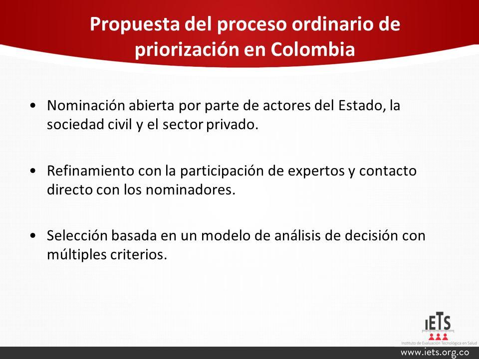 Propuesta del proceso ordinario de priorización en Colombia