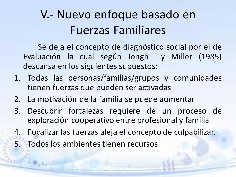 V.- Nuevo enfoque basado en Fuerzas Familiares