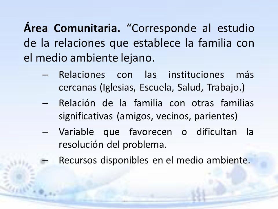 Área Comunitaria. Corresponde al estudio de la relaciones que establece la familia con el medio ambiente lejano.