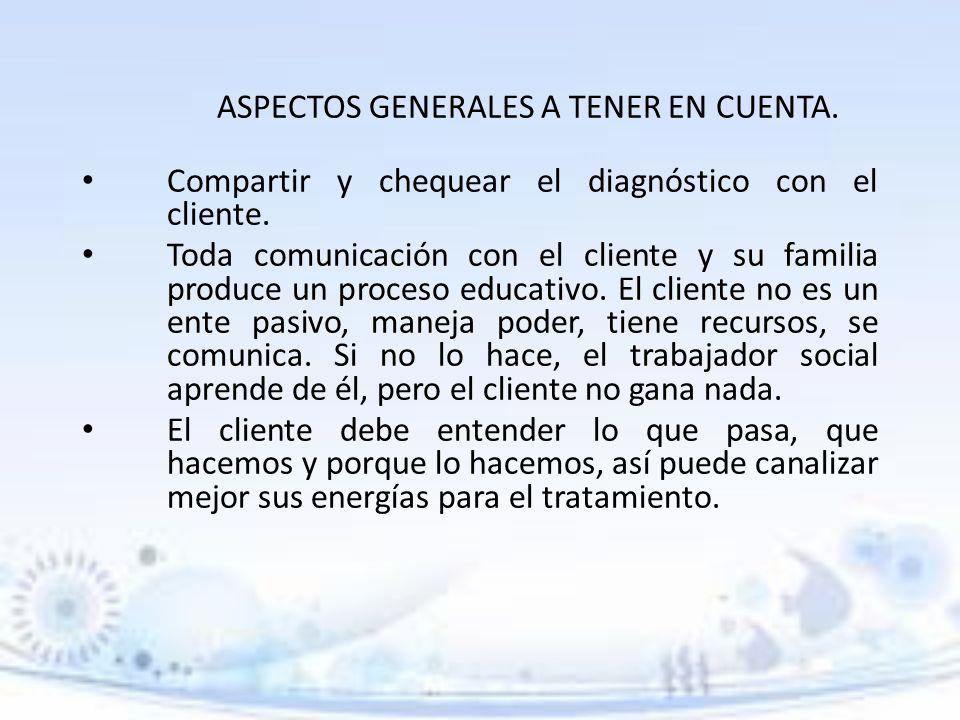 ASPECTOS GENERALES A TENER EN CUENTA.