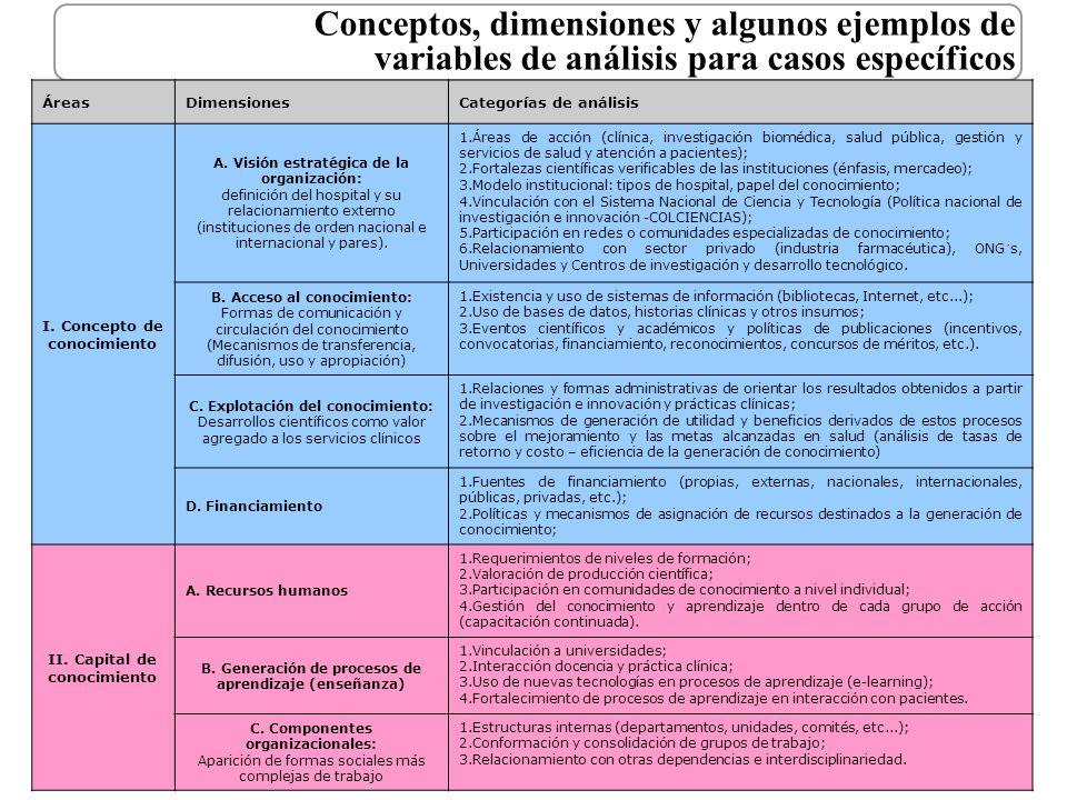Conceptos, dimensiones y algunos ejemplos de variables de análisis para casos específicos