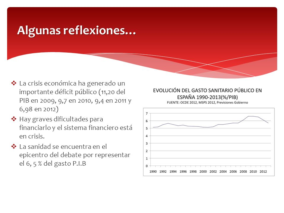 Algunas reflexiones… La crisis económica ha generado un importante déficit público (11,20 del PIB en 2009, 9,7 en 2010, 9,4 en 2011 y 6,98 en 2012)