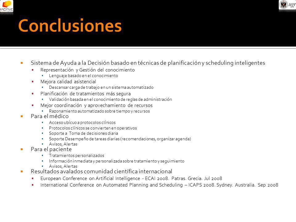 Conclusiones Sistema de Ayuda a la Decisión basado en técnicas de planificación y scheduling inteligentes.