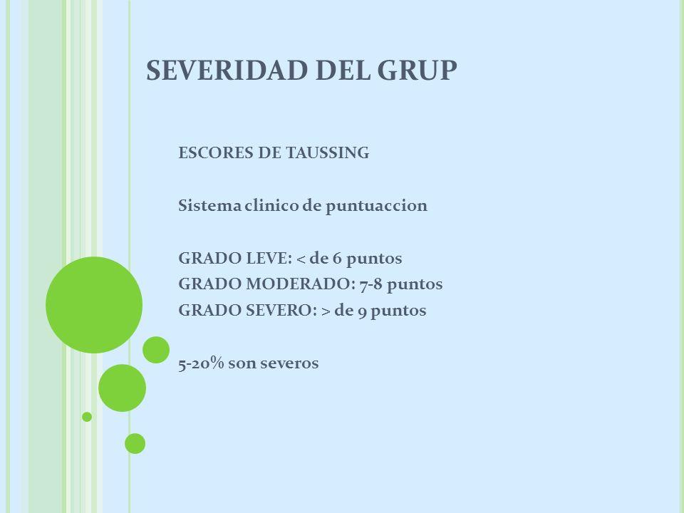 SEVERIDAD DEL GRUP ESCORES DE TAUSSING Sistema clinico de puntuaccion