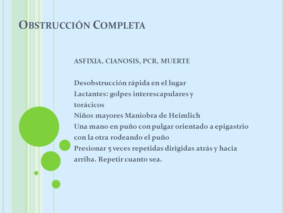 Obstrucción Completa ASFIXIA, CIANOSIS, PCR, MUERTE