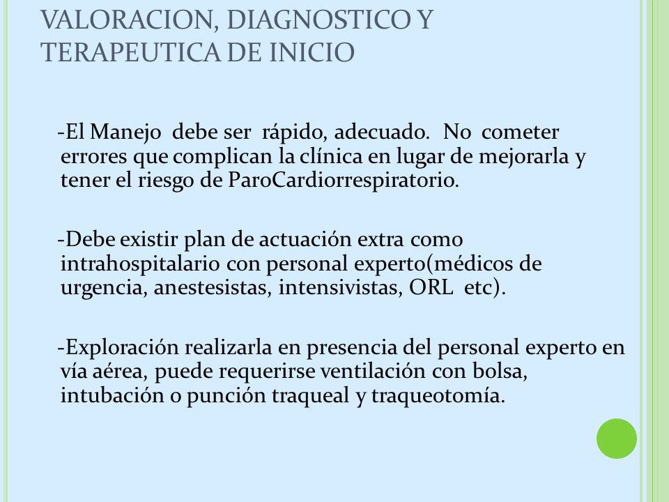 VALORACION, DIAGNOSTICO Y TERAPEUTICA DE INICIO