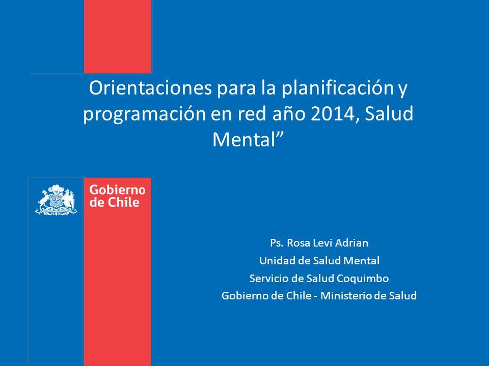Orientaciones para la planificación y programación en red año 2014, Salud Mental