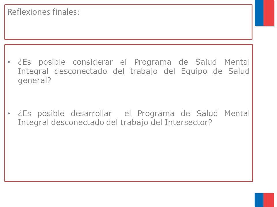 Reflexiones finales: ¿Es posible considerar el Programa de Salud Mental Integral desconectado del trabajo del Equipo de Salud general