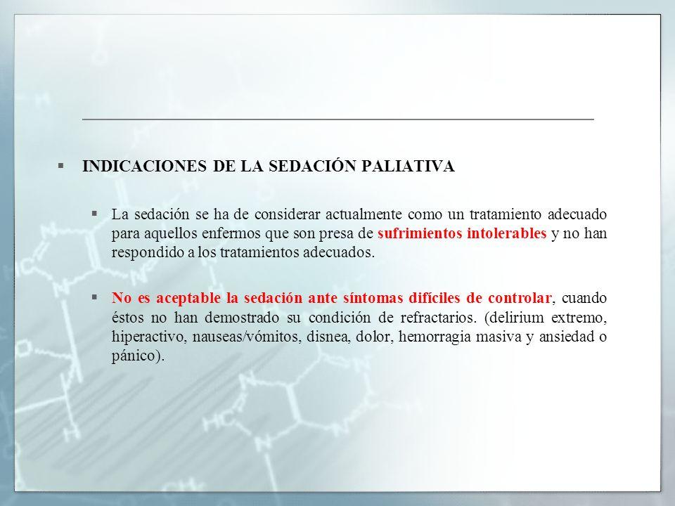 INDICACIONES DE LA SEDACIÓN PALIATIVA