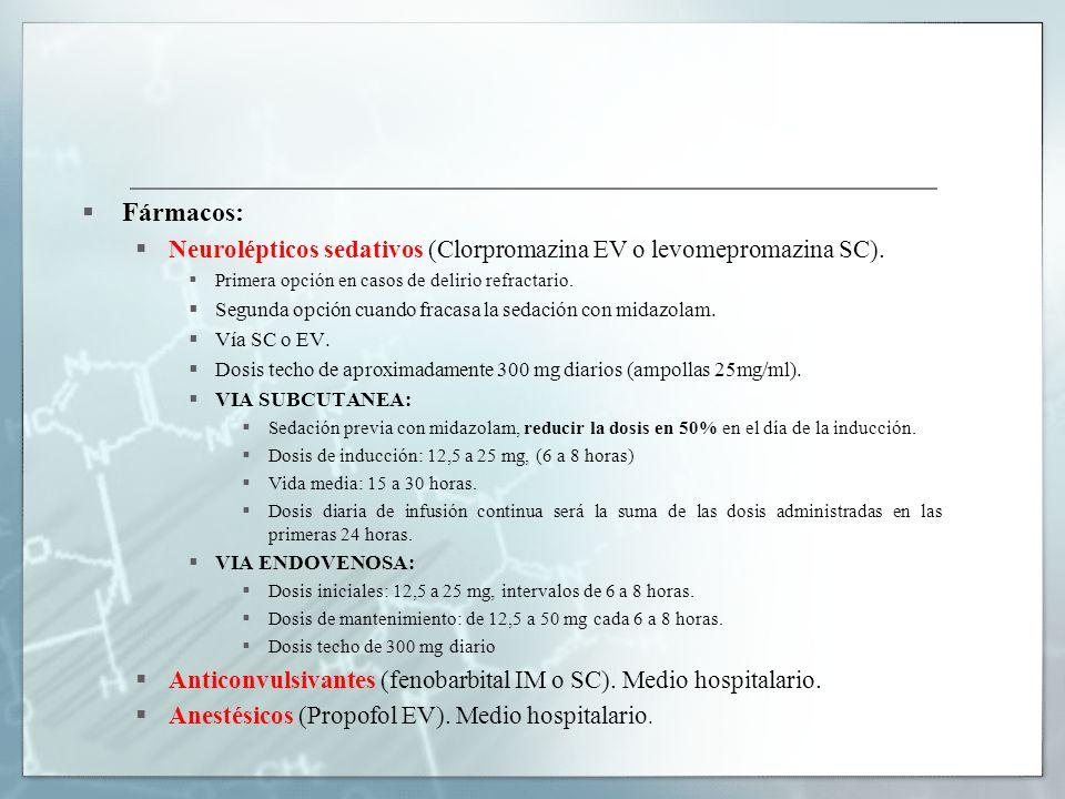 Fármacos: Neurolépticos sedativos (Clorpromazina EV o levomepromazina SC). Primera opción en casos de delirio refractario.