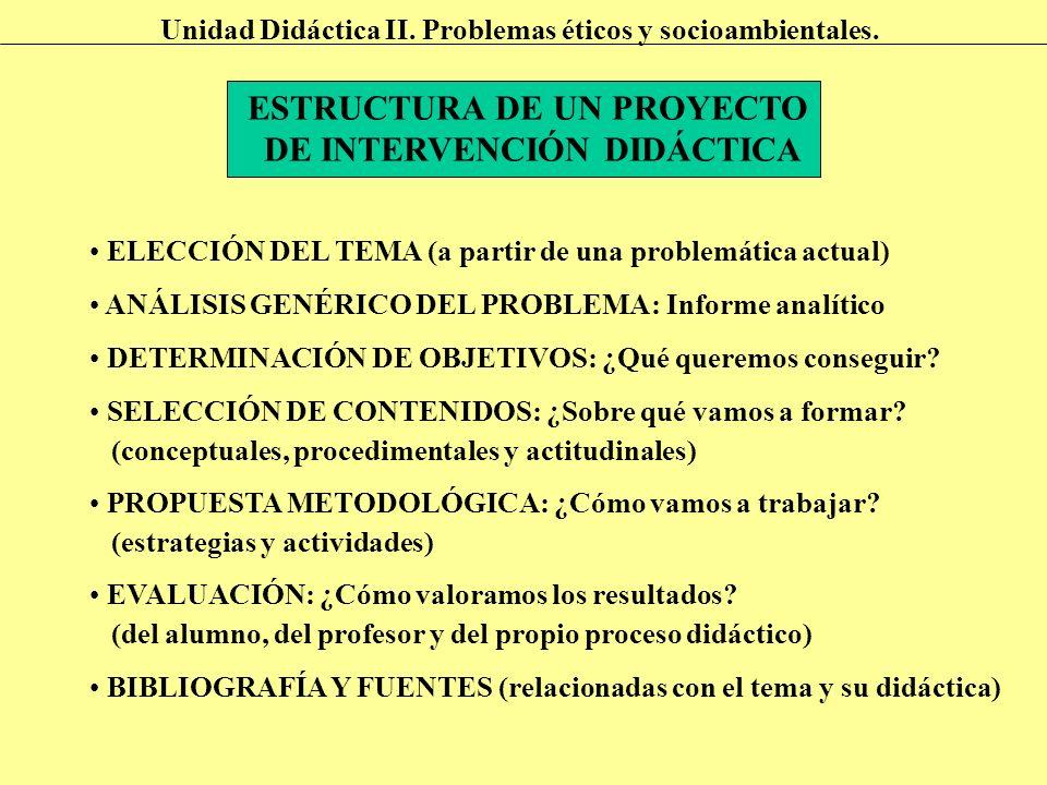 ESTRUCTURA DE UN PROYECTO DE INTERVENCIÓN DIDÁCTICA