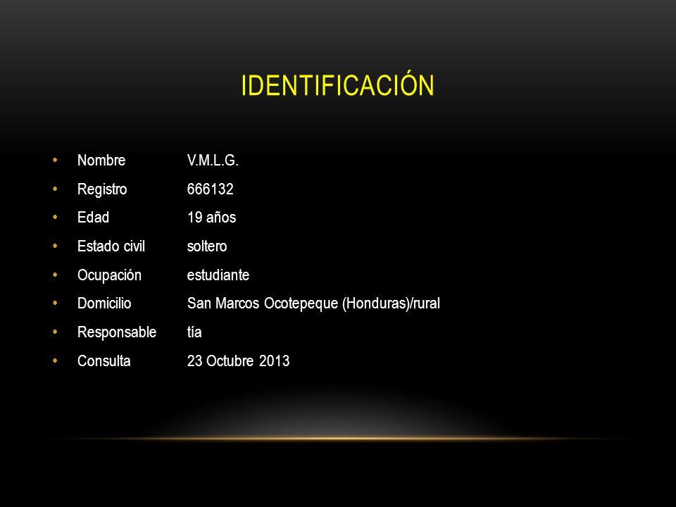 IDENTIFICACIÓN Nombre V.M.L.G. Registro 666132 Edad 19 años