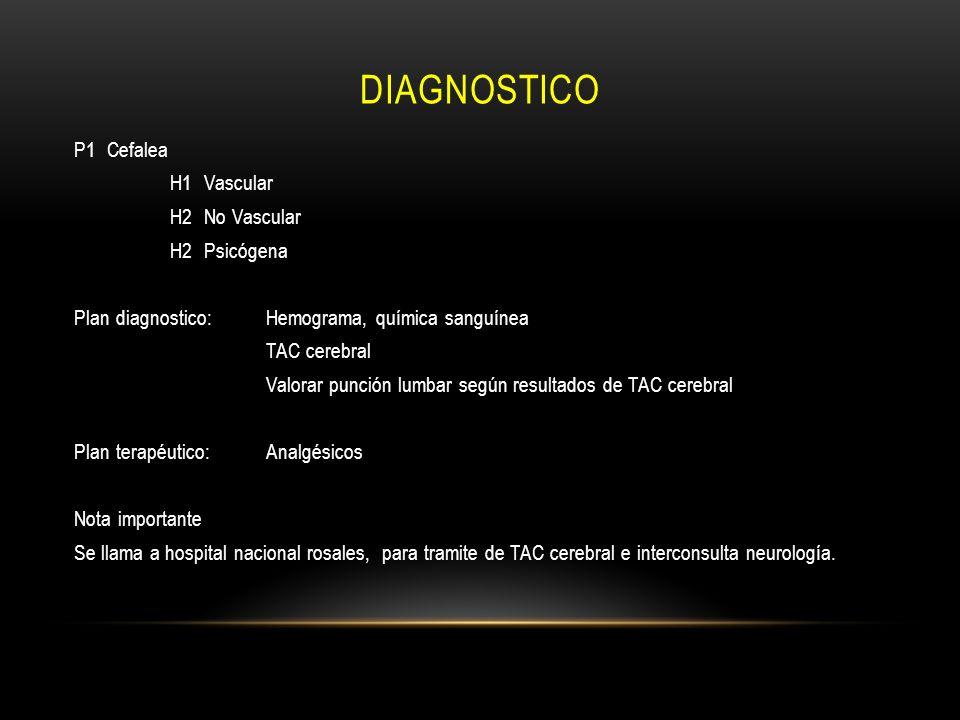diagnostico P1 Cefalea H1 Vascular H2 No Vascular H2 Psicógena