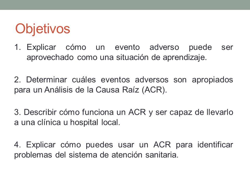 Objetivos Explicar cómo un evento adverso puede ser aprovechado como una situación de aprendizaje.