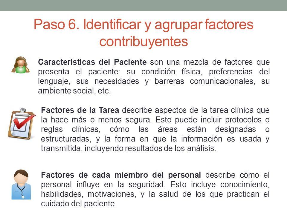 Paso 6. Identificar y agrupar factores contribuyentes