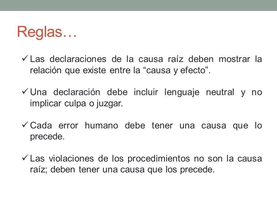 Reglas… Las declaraciones de la causa raíz deben mostrar la relación que existe entre la causa y efecto .