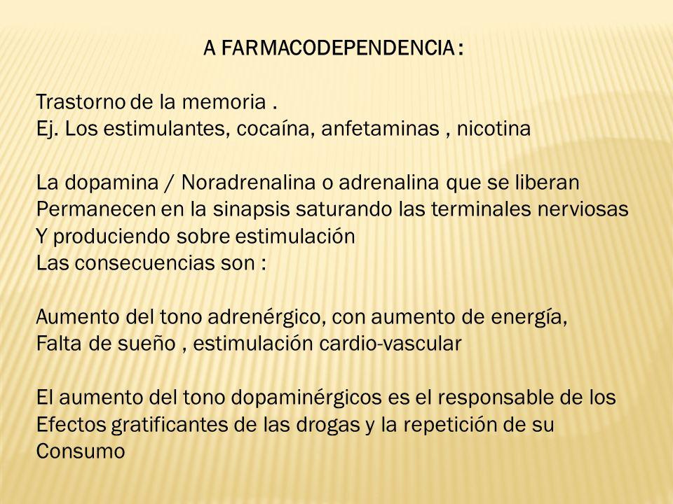 A FARMACODEPENDENCIA :