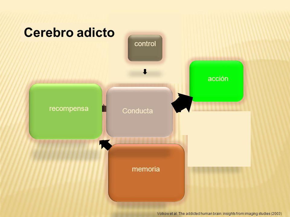Cerebro normal Cerebro adicto control control acción recompensa