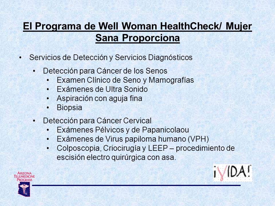 El Programa de Well Woman HealthCheck/ Mujer Sana Proporciona
