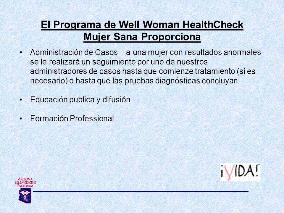 El Programa de Well Woman HealthCheck Mujer Sana Proporciona