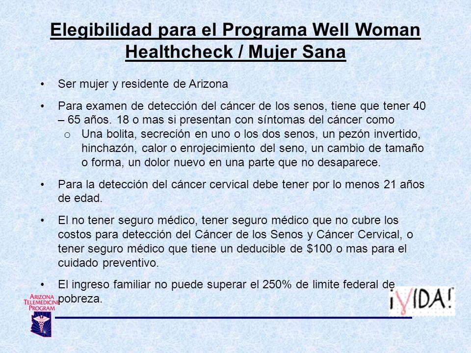 Elegibilidad para el Programa Well Woman Healthcheck / Mujer Sana