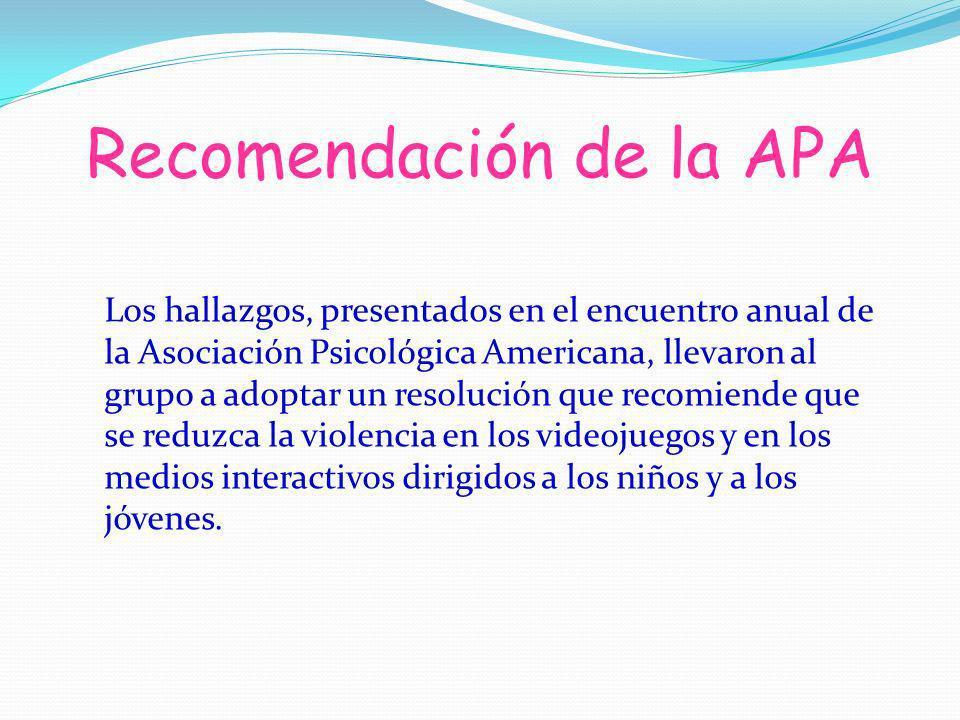 Recomendación de la APA