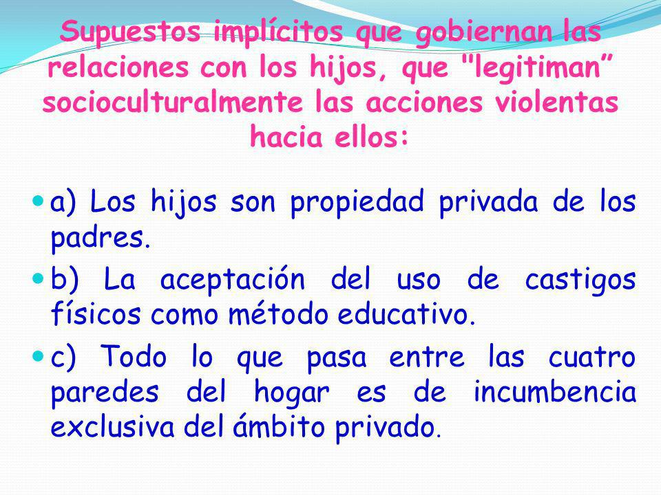 Supuestos implícitos que gobiernan las relaciones con los hijos, que legitiman socioculturalmente las acciones violentas hacia ellos: