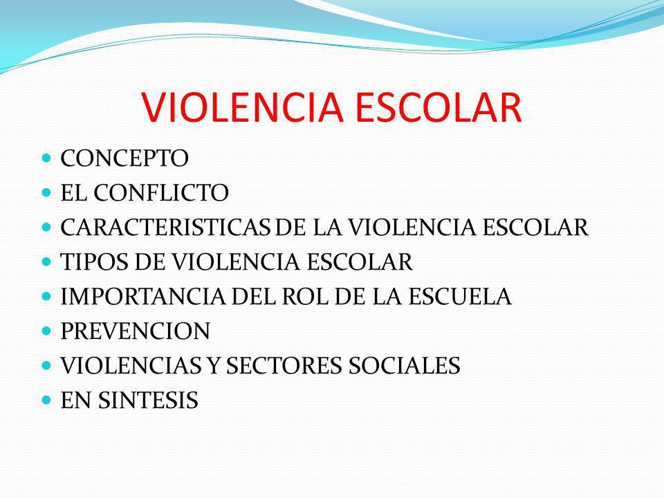 VIOLENCIA ESCOLAR CONCEPTO EL CONFLICTO