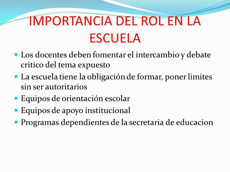 IMPORTANCIA DEL ROL EN LA ESCUELA