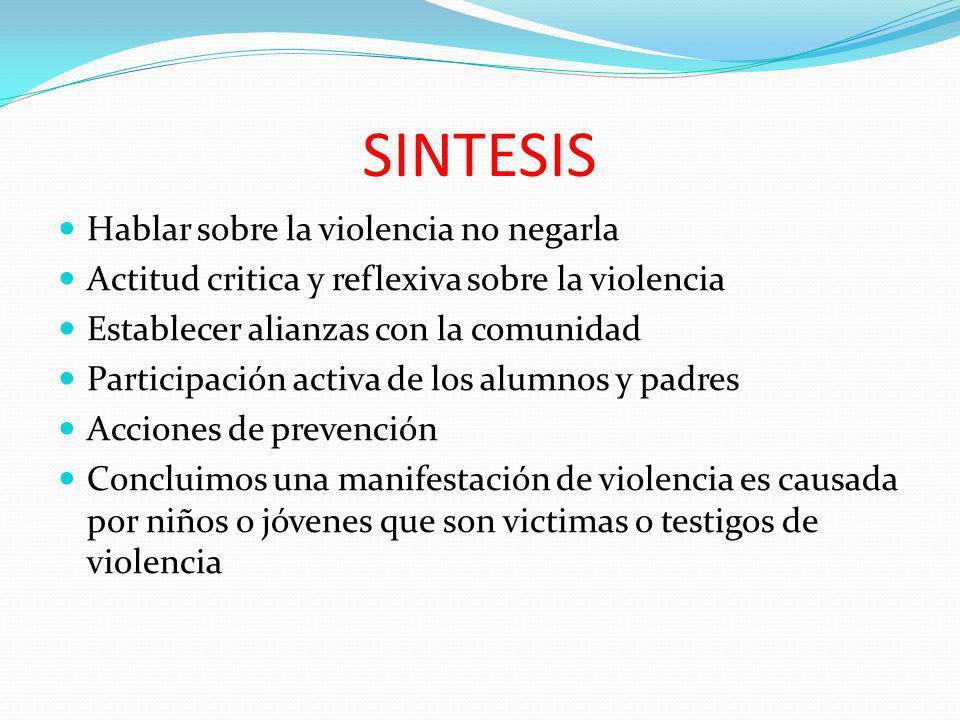 SINTESIS Hablar sobre la violencia no negarla