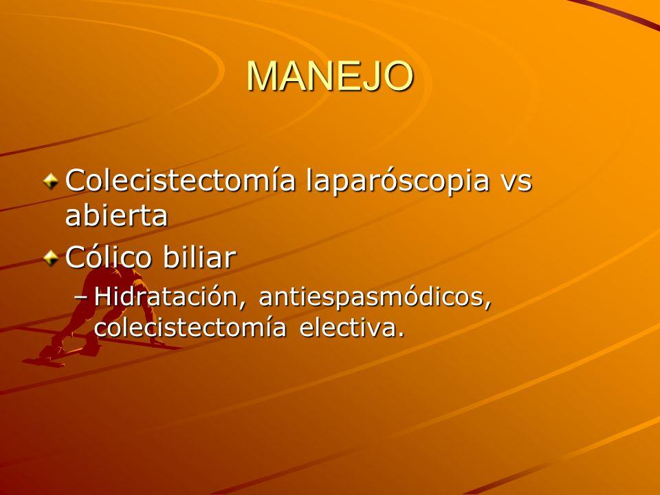 MANEJO Colecistectomía laparóscopia vs abierta Cólico biliar