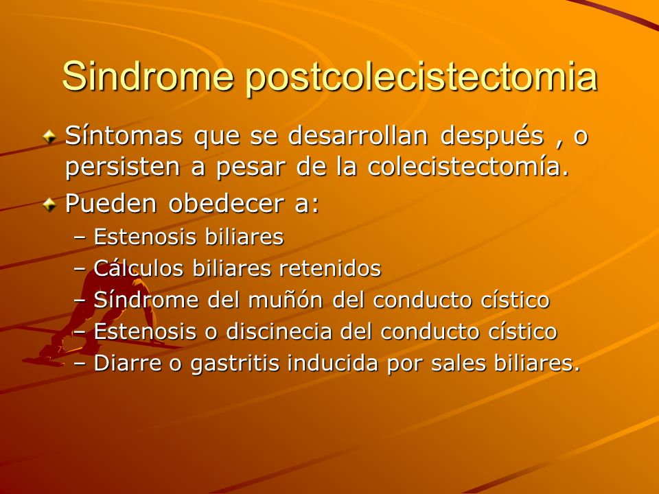Sindrome postcolecistectomia