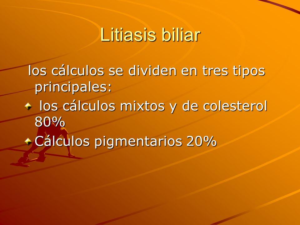 Litiasis biliar los cálculos se dividen en tres tipos principales: