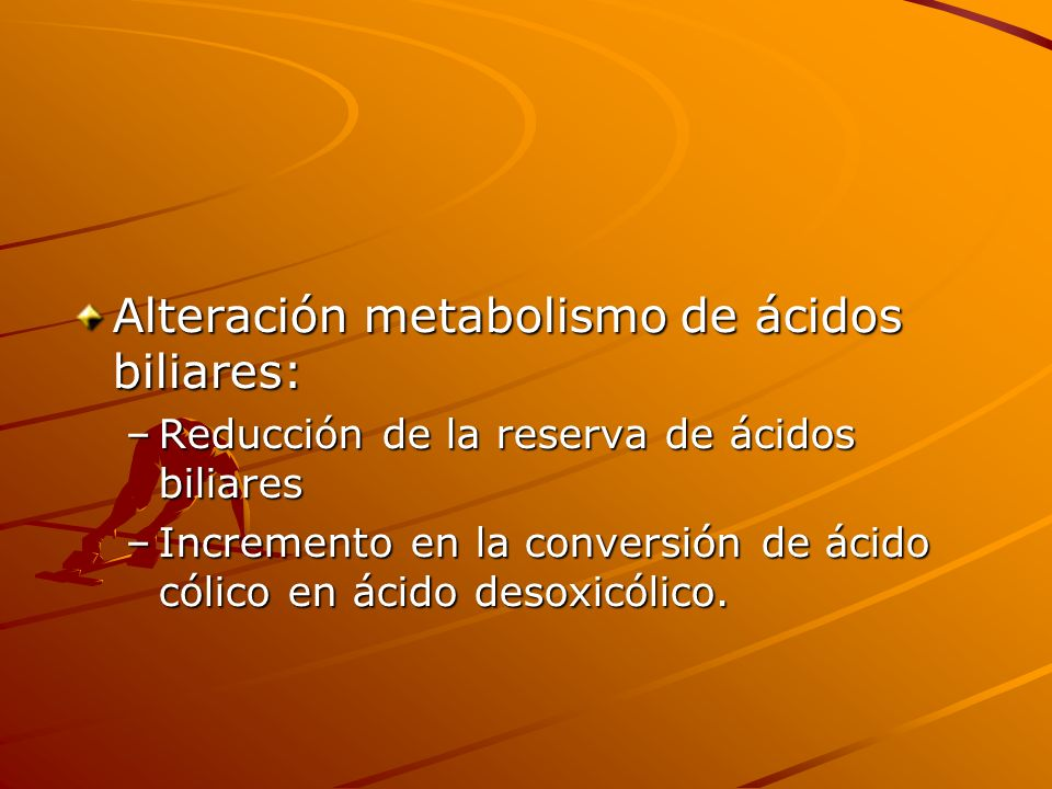 Alteración metabolismo de ácidos biliares: