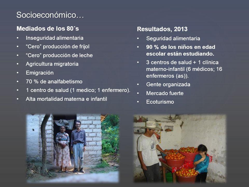 Socioeconómico… Mediados de los 80´s Resultados, 2013