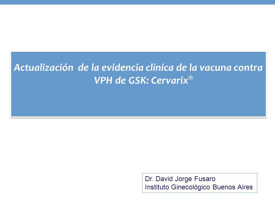 Actualización de la evidencia clínica de la vacuna contra VPH de GSK: Cervarix®
