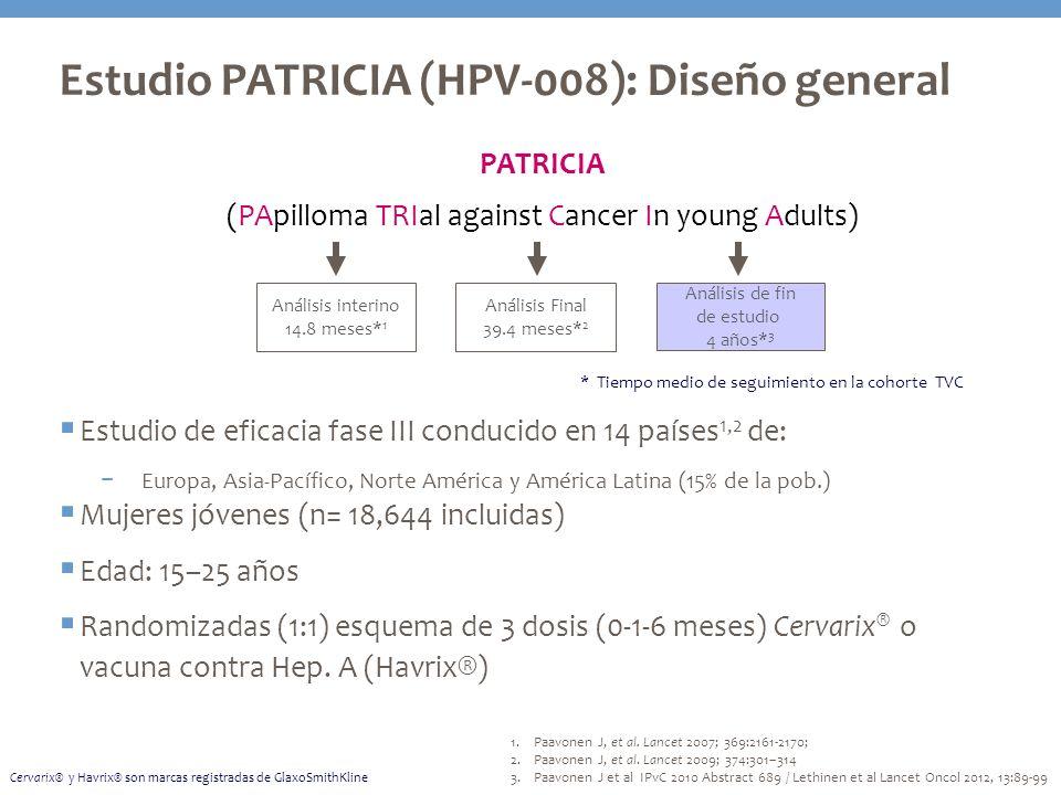 Estudio PATRICIA (HPV-008): Diseño general