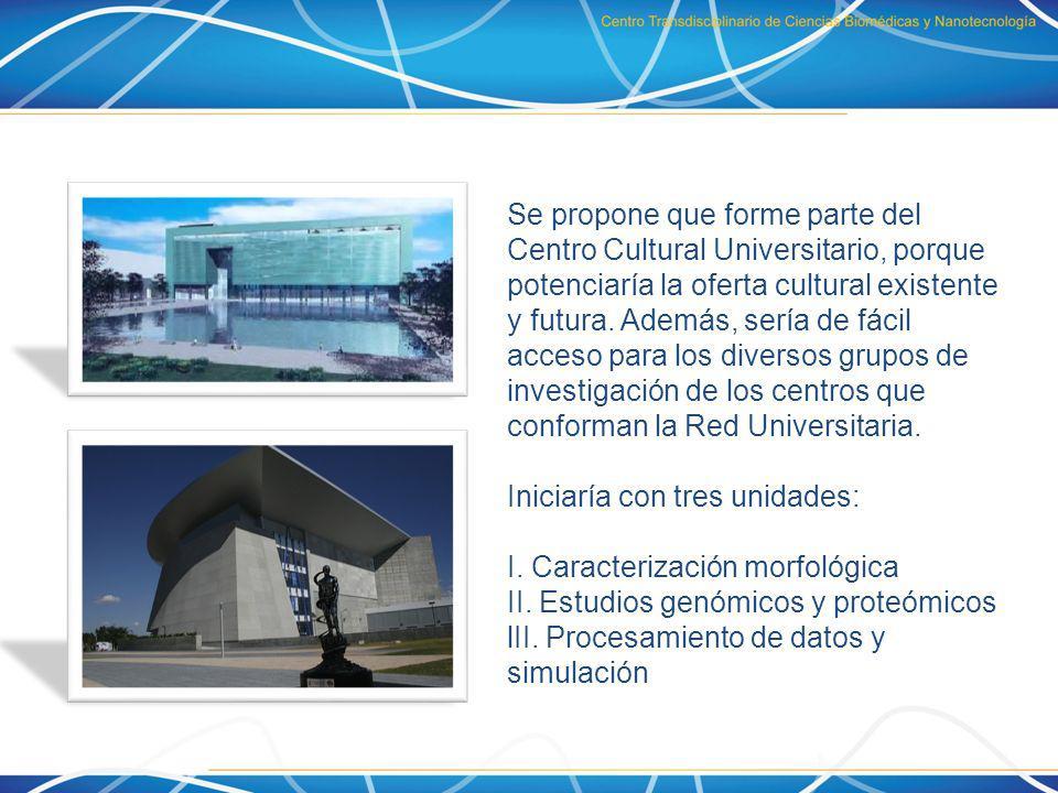 Se propone que forme parte del Centro Cultural Universitario, porque potenciaría la oferta cultural existente y futura. Además, sería de fácil acceso para los diversos grupos de investigación de los centros que conforman la Red Universitaria.