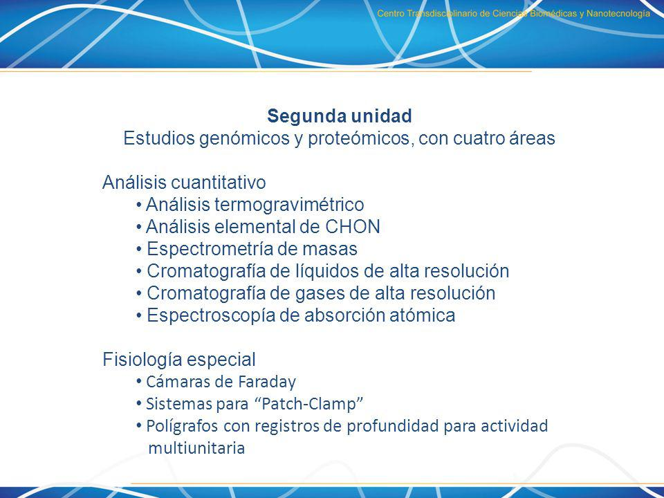 Estudios genómicos y proteómicos, con cuatro áreas