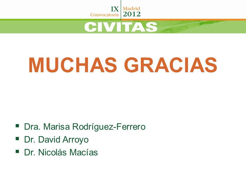MUCHAS GRACIAS Dra. Marisa Rodríguez-Ferrero Dr. David Arroyo