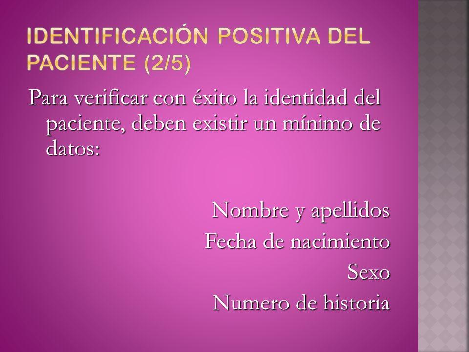 Identificación positiva del paciente (2/5)