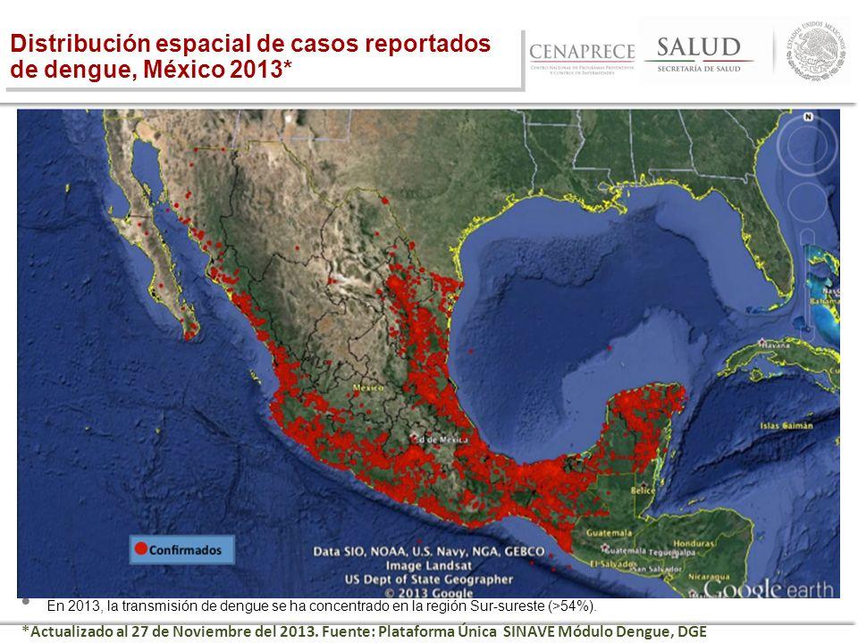 Distribución espacial de casos reportados de dengue, México 2013*